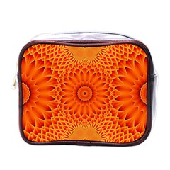 Lotus Fractal Flower Orange Yellow Mini Toiletries Bags by EDDArt
