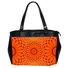 Lotus Fractal Flower Orange Yellow Office Handbags (2 Sides)  by EDDArt