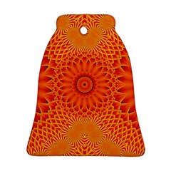 Lotus Fractal Flower Orange Yellow Bell Ornament (2 Sides) by EDDArt