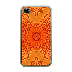 Lotus Fractal Flower Orange Yellow Apple Iphone 4 Case (clear) by EDDArt