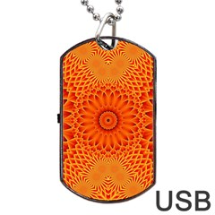 Lotus Fractal Flower Orange Yellow Dog Tag Usb Flash (two Sides)  by EDDArt