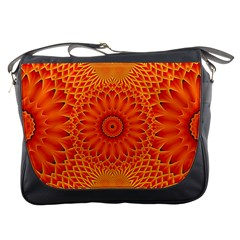 Lotus Fractal Flower Orange Yellow Messenger Bags by EDDArt