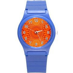 Lotus Fractal Flower Orange Yellow Round Plastic Sport Watch (s) by EDDArt