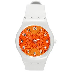 Lotus Fractal Flower Orange Yellow Round Plastic Sport Watch (m) by EDDArt