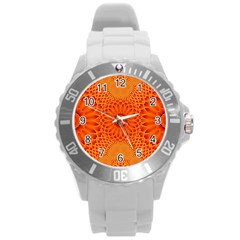 Lotus Fractal Flower Orange Yellow Round Plastic Sport Watch (l) by EDDArt