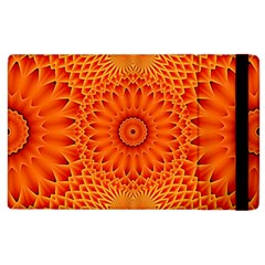 Lotus Fractal Flower Orange Yellow Apple Ipad 2 Flip Case by EDDArt