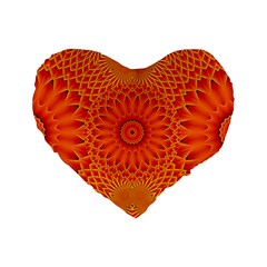 Lotus Fractal Flower Orange Yellow Standard 16  Premium Heart Shape Cushions by EDDArt