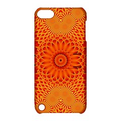 Lotus Fractal Flower Orange Yellow Apple Ipod Touch 5 Hardshell Case With Stand by EDDArt
