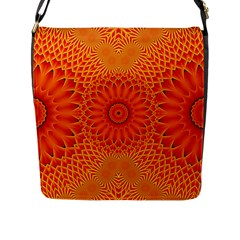 Lotus Fractal Flower Orange Yellow Flap Messenger Bag (l)  by EDDArt