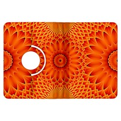 Lotus Fractal Flower Orange Yellow Kindle Fire Hdx Flip 360 Case by EDDArt