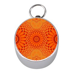 Lotus Fractal Flower Orange Yellow Mini Silver Compasses by EDDArt