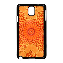 Lotus Fractal Flower Orange Yellow Samsung Galaxy Note 3 Neo Hardshell Case (black) by EDDArt