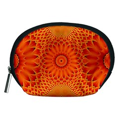 Lotus Fractal Flower Orange Yellow Accessory Pouches (medium)  by EDDArt