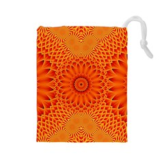 Lotus Fractal Flower Orange Yellow Drawstring Pouches (large)  by EDDArt