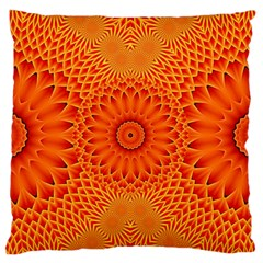Lotus Fractal Flower Orange Yellow Standard Flano Cushion Case (two Sides) by EDDArt
