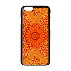 Lotus Fractal Flower Orange Yellow Apple Iphone 6/6s Black Enamel Case by EDDArt