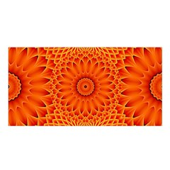 Lotus Fractal Flower Orange Yellow Satin Shawl by EDDArt