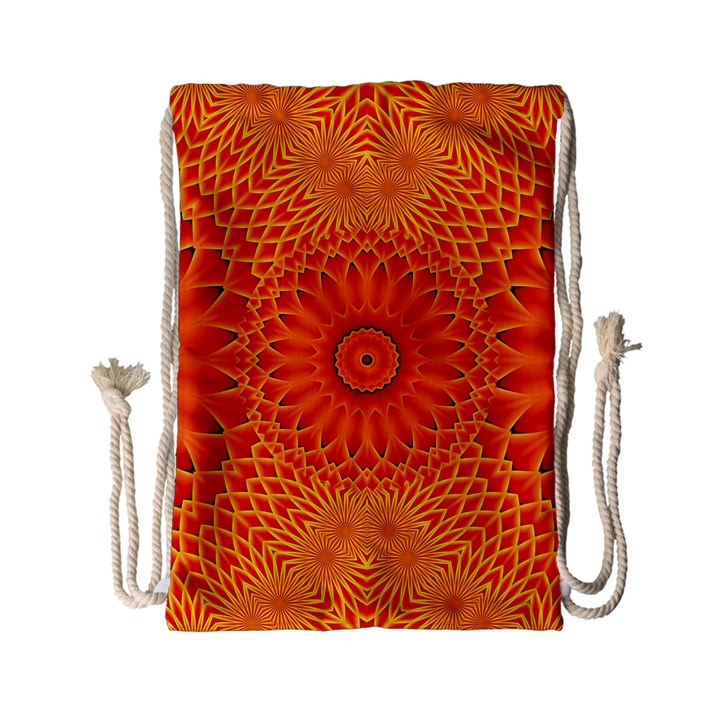 Lotus Fractal Flower Orange Yellow Drawstring Bag (Small)