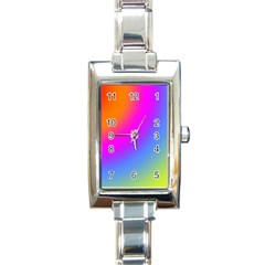 Radial Gradients Red Orange Pink Blue Green Rectangle Italian Charm Watch by EDDArt