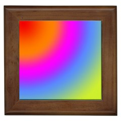 Radial Gradients Red Orange Pink Blue Green Framed Tiles by EDDArt