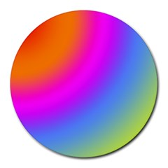 Radial Gradients Red Orange Pink Blue Green Round Mousepads by EDDArt