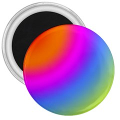 Radial Gradients Red Orange Pink Blue Green 3  Magnets by EDDArt