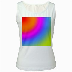 Radial Gradients Red Orange Pink Blue Green Women s White Tank Top by EDDArt