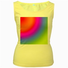 Radial Gradients Red Orange Pink Blue Green Women s Yellow Tank Top by EDDArt
