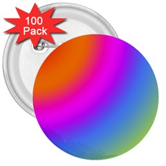 Radial Gradients Red Orange Pink Blue Green 3  Buttons (100 Pack)  by EDDArt