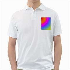 Radial Gradients Red Orange Pink Blue Green Golf Shirts by EDDArt
