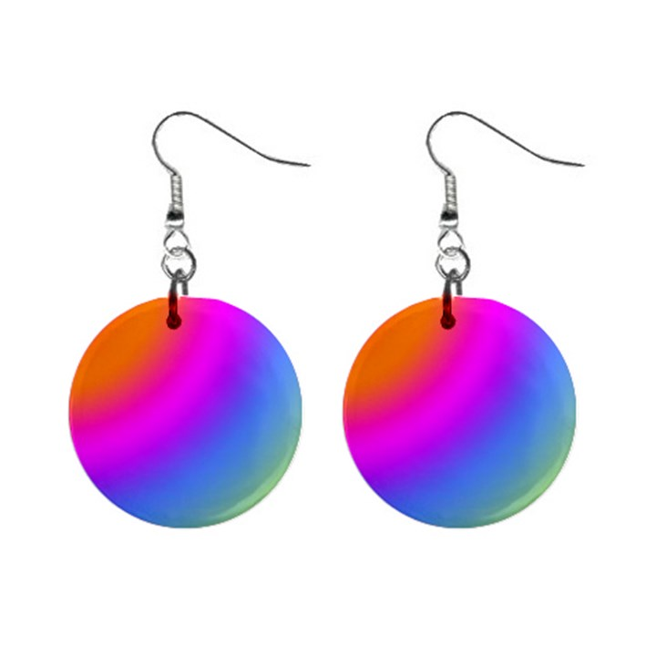 Radial Gradients Red Orange Pink Blue Green Mini Button Earrings