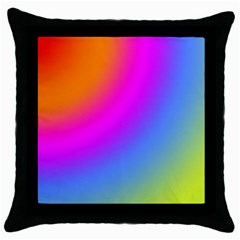Radial Gradients Red Orange Pink Blue Green Throw Pillow Case (black) by EDDArt