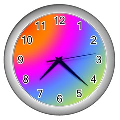 Radial Gradients Red Orange Pink Blue Green Wall Clocks (silver)  by EDDArt