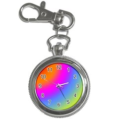 Radial Gradients Red Orange Pink Blue Green Key Chain Watches by EDDArt