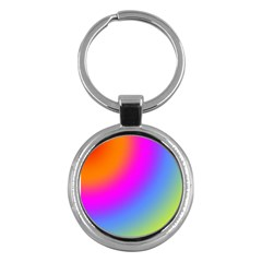 Radial Gradients Red Orange Pink Blue Green Key Chains (round)  by EDDArt