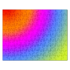 Radial Gradients Red Orange Pink Blue Green Rectangular Jigsaw Puzzl by EDDArt