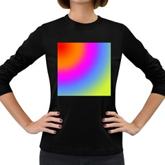 Radial Gradients Red Orange Pink Blue Green Women s Long Sleeve Dark T Shirts by EDDArt