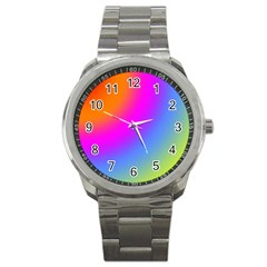 Radial Gradients Red Orange Pink Blue Green Sport Metal Watch
