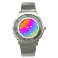 Radial Gradients Red Orange Pink Blue Green Stainless Steel Watch by EDDArt