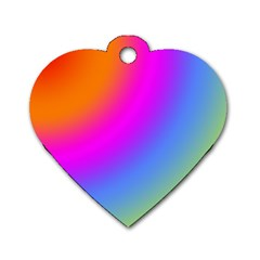 Radial Gradients Red Orange Pink Blue Green Dog Tag Heart (one Side) by EDDArt