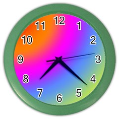 Radial Gradients Red Orange Pink Blue Green Color Wall Clocks by EDDArt