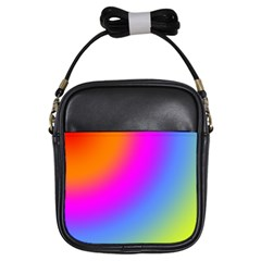 Radial Gradients Red Orange Pink Blue Green Girls Sling Bags by EDDArt
