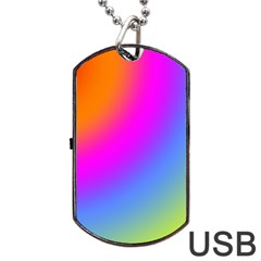 Radial Gradients Red Orange Pink Blue Green Dog Tag Usb Flash (one Side) by EDDArt