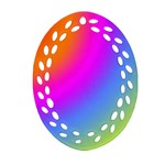 Radial Gradients Red Orange Pink Blue Green Ornament (Oval Filigree)  Front