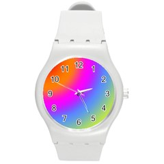 Radial Gradients Red Orange Pink Blue Green Round Plastic Sport Watch (m) by EDDArt