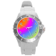 Radial Gradients Red Orange Pink Blue Green Round Plastic Sport Watch (l) by EDDArt