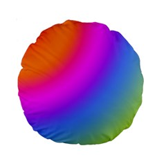 Radial Gradients Red Orange Pink Blue Green Standard 15  Premium Round Cushions by EDDArt