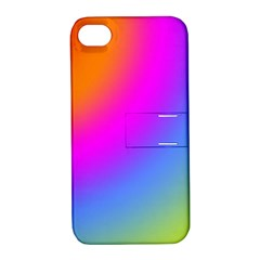 Radial Gradients Red Orange Pink Blue Green Apple Iphone 4/4s Hardshell Case With Stand by EDDArt