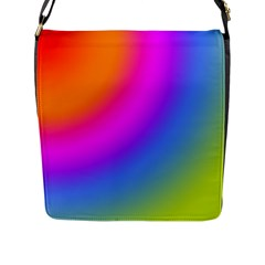 Radial Gradients Red Orange Pink Blue Green Flap Messenger Bag (l)  by EDDArt