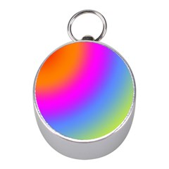 Radial Gradients Red Orange Pink Blue Green Mini Silver Compasses by EDDArt